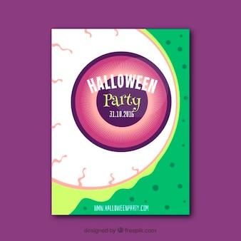 Cartel de fiesta de halloween con ojo repuzgante