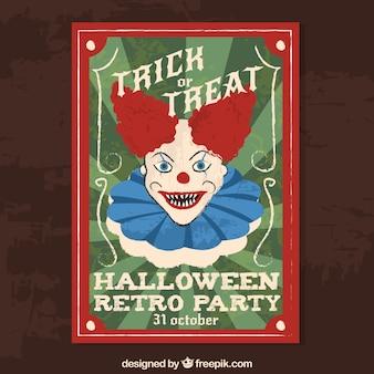 Cartel de fiesta de halloween con payaso malvado