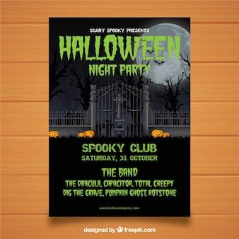 Cartel de fiesta de halloween de cementerio