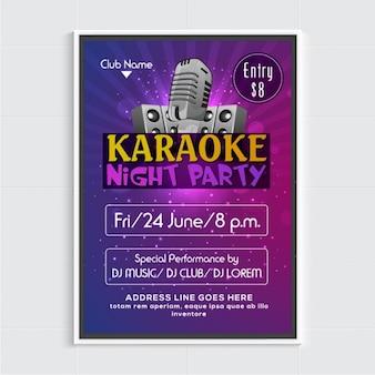 Cartel de fiesta de karaoke