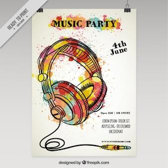 Cartel de fiesta de música con salpicaduras de acuarela