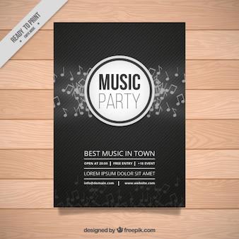 Cartel de fiesta de música oscuro con notas musicales y líneas
