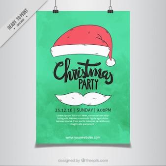 Cartel de fiesta de navidad con elementos de santa claus