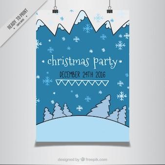 Cartel de fiesta de navidad con paisaje nevado dibujado a mano