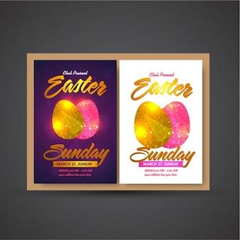 Cartel de fiesta de pascua con huevos rosas y dorados