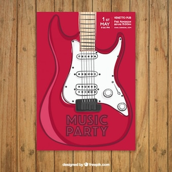Cartel de fiesta de rock con una guitarra