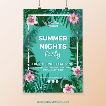 Cartel de fiesta de verano con flores
