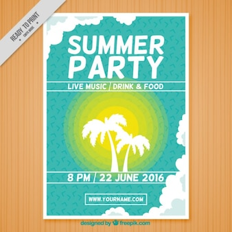 Cartel de fiesta de verano con palmera