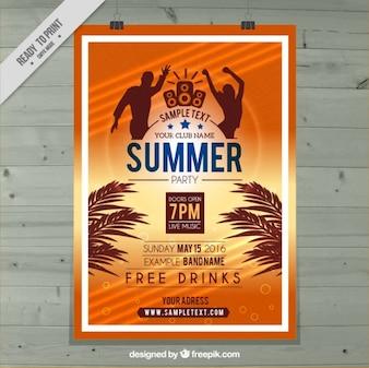 Cartel de fiesta de verano en color naranja