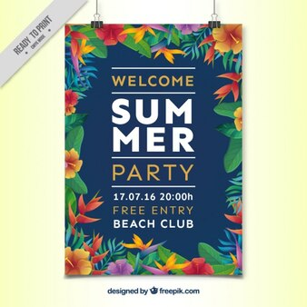 Cartel de fiesta de verano floral