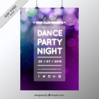 Cartel de fiesta desenfocado con efecto bokeh