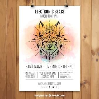 Cartel de fiesta electrónica con un lobo pintado a mano