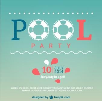 Cartel de fiesta en la piscina