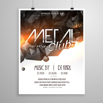 Cartel de fiesta en metal club