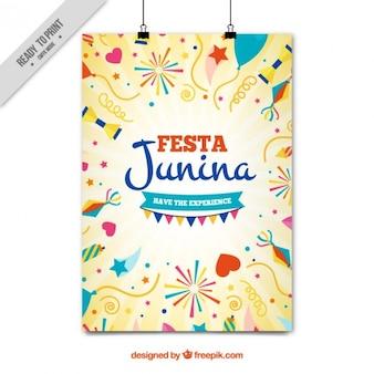 Cartel de fiesta junina con elementos de fiesta dibujados a mano