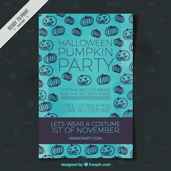Cartel de fiesta para halloween con calabazas