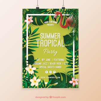 Cartel de fiesta tropical con flores y flamenco