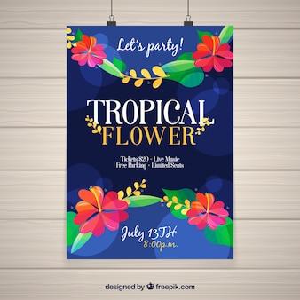 Cartel de fiesta tropical con flores