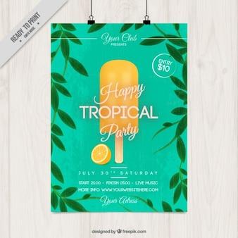 Cartel de fiesta tropical con helado