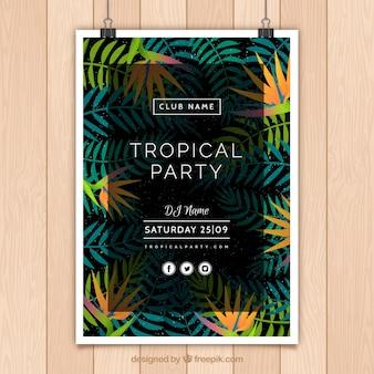 Cartel de fiesta tropical con hojas de palmeras