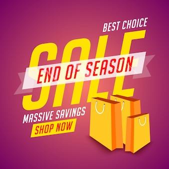 Cartel de fin de temporada de venta con bolsas de la compra.