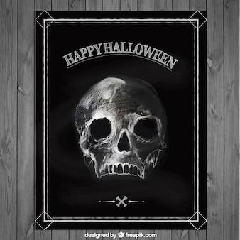 Cartel de Halloween con un cráneo dibujado a mano