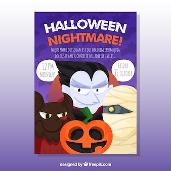 Cartel de halloween con vampiro y otros personajes de halloween