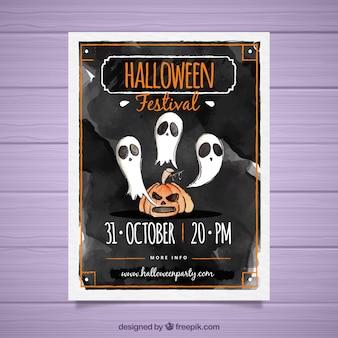 Cartel de halloween de acuarela con fantasmas y calabaza
