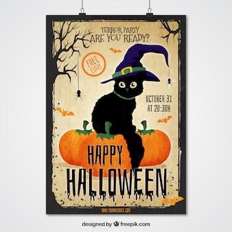 Cartel de halloween de gato con sombrero de bruja