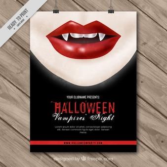 Cartel de halloween de mujer con colmillos