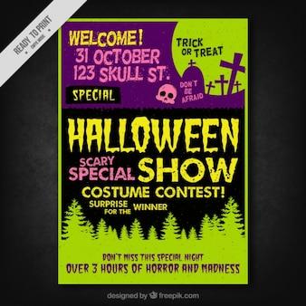 Cartel de halloween vintage con lápidas y árboles