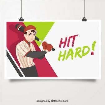 Cartel de ilustración de bateador