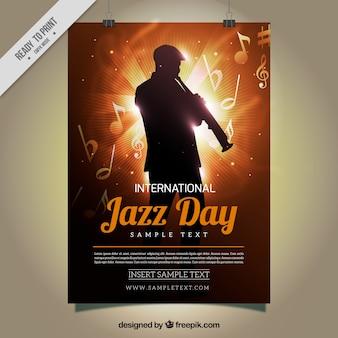 Cartel de jazz con silueta brillante