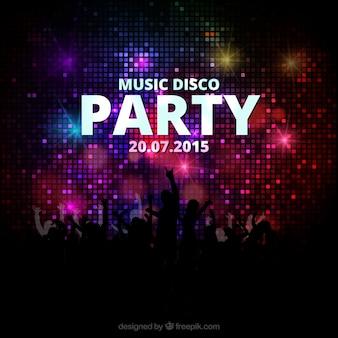 Cartel de la fiesta música disco