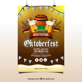 Cartel de oktoberfest con banderas, barril y jarras de cerveza