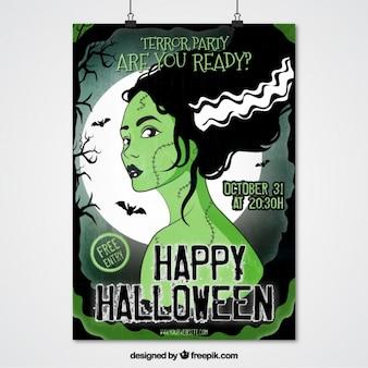 Cartel de personaje de mujer zombi