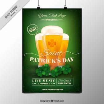 Cartel de San Patrick con cervezas