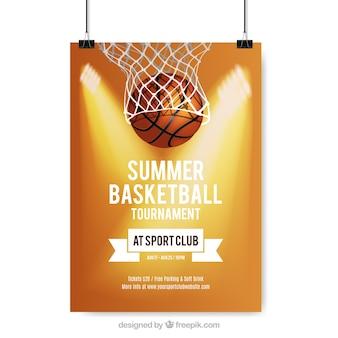 Cartel de torneo de baloncesto de verano