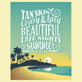 Cartel de verano de tipografía vintage
