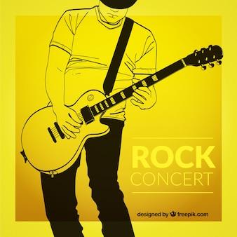 Cartel del concierto de rock Amarillo