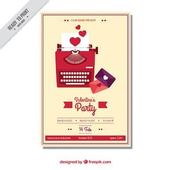 Cartel del día de san valentín con máquina de escribir y cartas