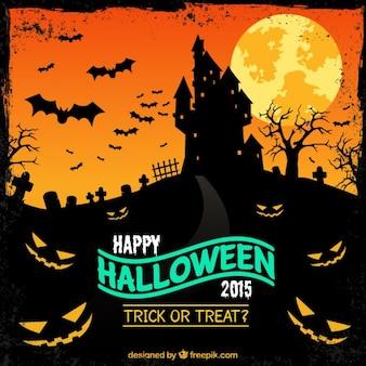 Cartel del partido de Halloween con un castillo encantado