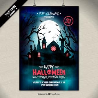 Cartel del partido del traje de Halloween