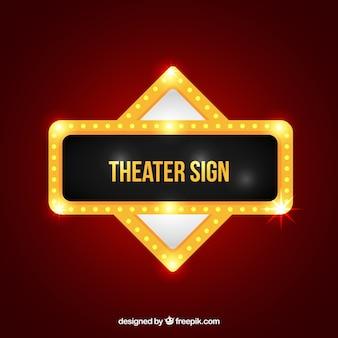 Cartel dorado luminoso de teatro