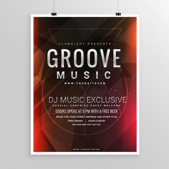 Cartel elegante abstracto de fiesta de música