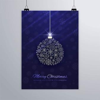 Cartel elegante de bola de navidad hecha con copos de nieve