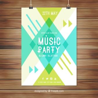 Cartel geométrico para una fiesta de djs