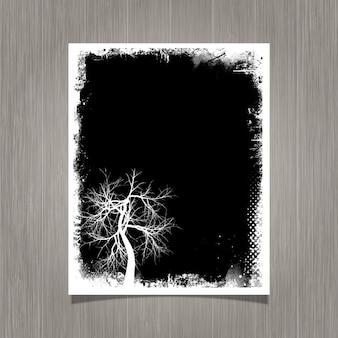 Cartel grunge negro con un árbol