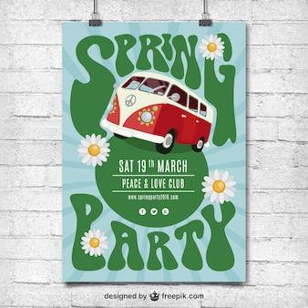 Cartel hippie de fiesta de primavera