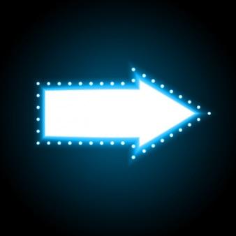 Cartel luminoso con forma de flecha